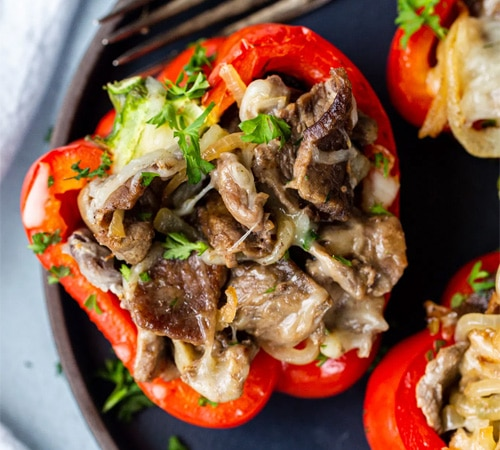 stuffed Peppers with Cheese and Steak