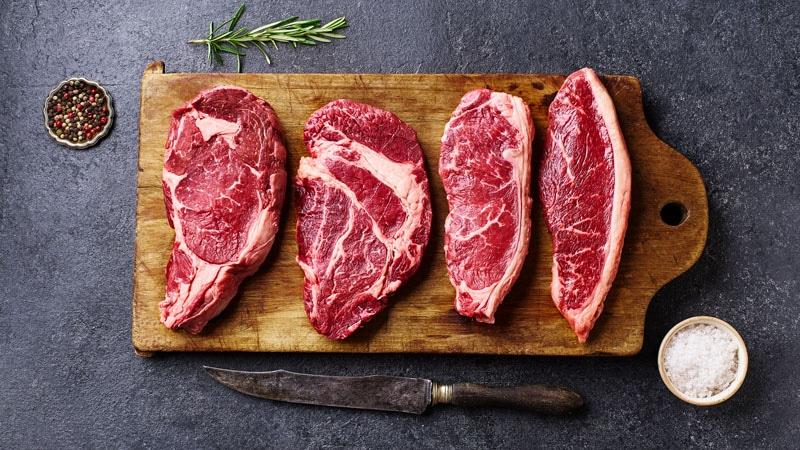 Variety of fresh steak cuts